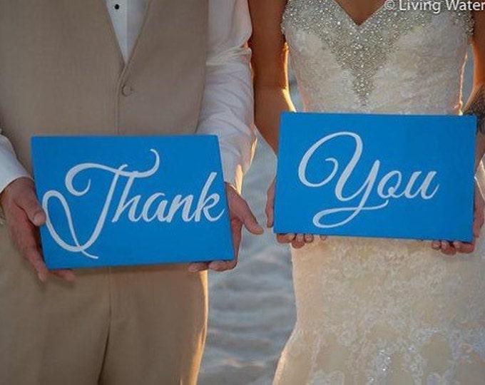 Thank You Wedding Signs Blue and White Wedding Decor, Wedding ceremony rustic decorations