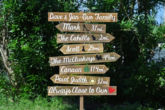 Gift for mom, Our Family Rustic Directional Location Sign, Beach House/ Yard/ Garden Decor, Unique Parents gift idea, Wood yard decor