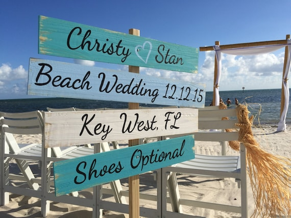 Wedding Sign Wood Beach Decor. Shoes Optional Directional Sign, Unique gift for couple