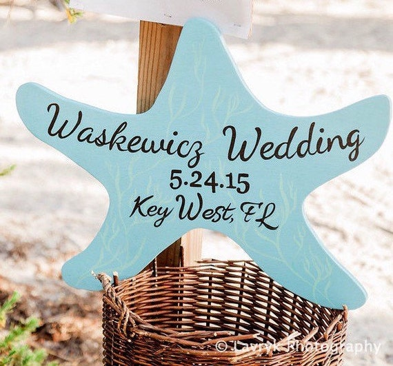 Starfish Ocean Blue Wedding Sign, Beach Nautical Wedding Decor, Starfish Wood Sign