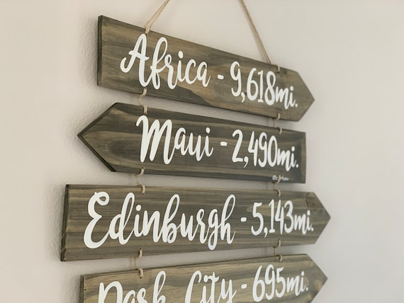 Wood directional signs on the rope. Rustic wall decor living room. Christmas gift idea for family