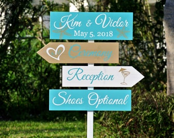 Welcome Wedding Ceremony Wood Sign. Tropical Beach Decor Shoes Optional signage, Gift for Couple