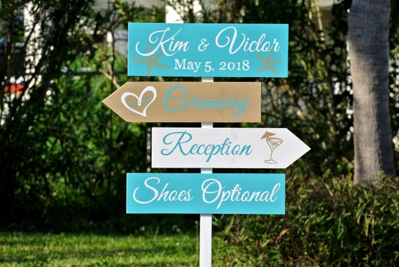 Welcome to our Wedding Wood Sign. Tropical Beach Decor Gold and Turquoise destination wedding.