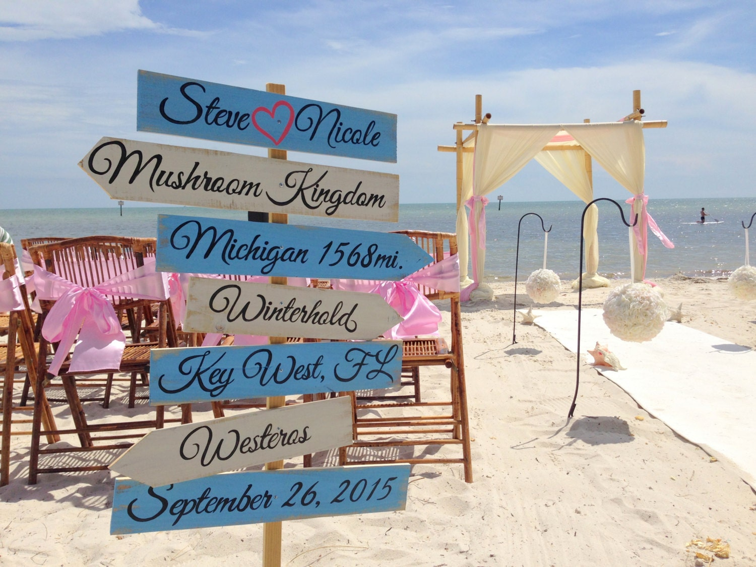 Rustic Directional Wedding Sign Wood Wedding Beach Decor Beach