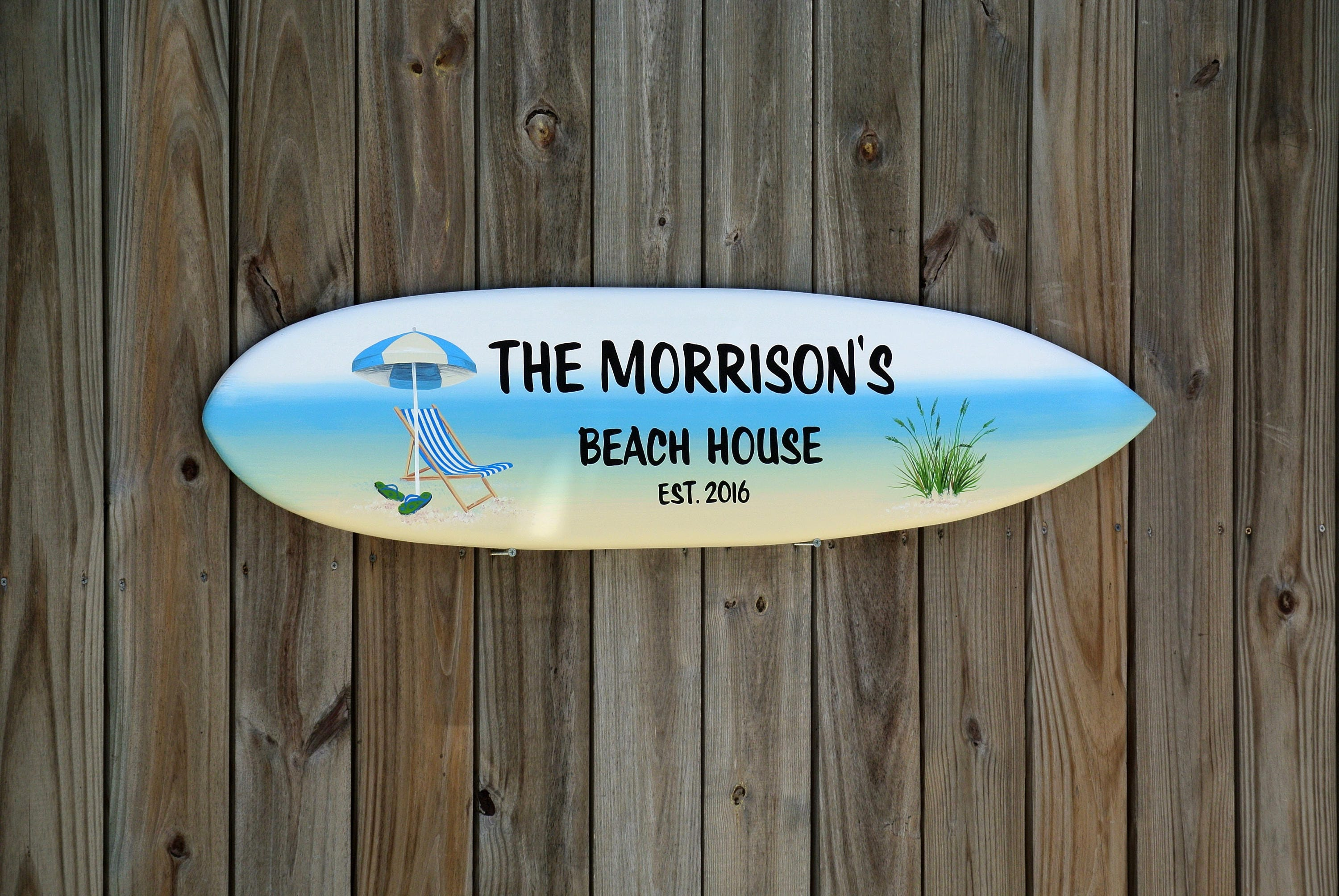 Beach House Surfboard Signs. Lake Beach House Family name wooden ...