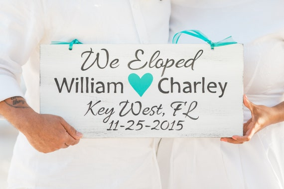 We Eloped Beach Wedding Sign Wood. Tropical decor Personalized gift. Custom wedding sign