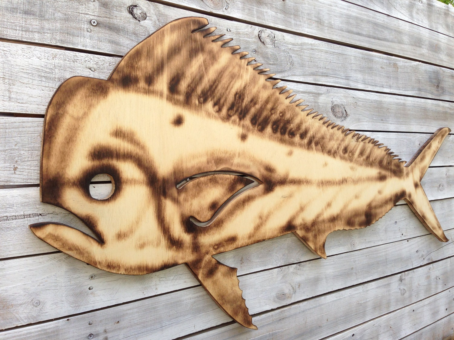 Dolphin Mahi Fish Wood Sign, Custom wooden gift for family. Tiki Bar ...