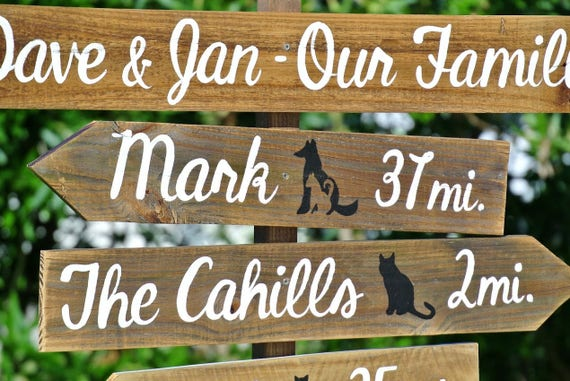 Our Family Directional Sign with symbols, Backyard decor arrow sign post. Gift for Husband, wife.