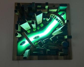 Glow in the Dark Night light - 3D City map wall art - City skyline wall decor with LED light