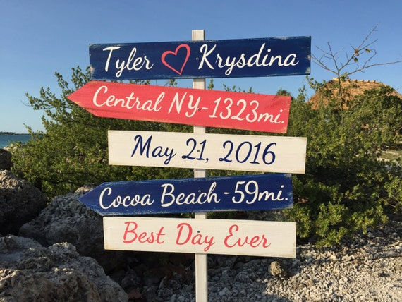 Nautical wedding sign. Beach wedding decor. Gift for couples. Directional sign wood. Yard decoration sign