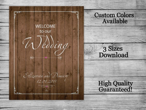 Rustic Wedding Welcome Sign, Welcome To Our Wedding Sign, PRINTABLE FILE, Welcome Wedding Digital