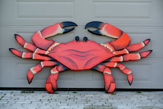 """Restaurant Large  94 x 44"""" Wooden Red Crab Decor. 3D Effect Wood sign for business."""