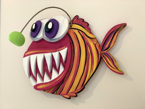 Angler Fish wall art wood. Fish decor for home. Christmas gift idea