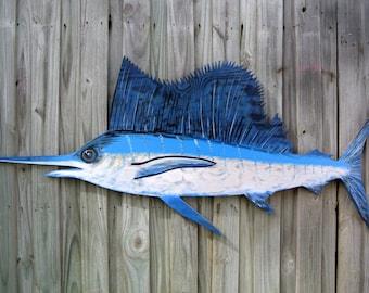 Gift for Dad. Man cave decoration sign. Large Sailfish Blue Marlin Wooden decor. Blue Marlin wood fish wall art. Fisherman Gift Idea.