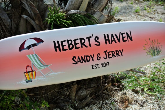 Lake house decor. Surfboard wall art wood sign. Family name welcome sign for home. Outdoor decor