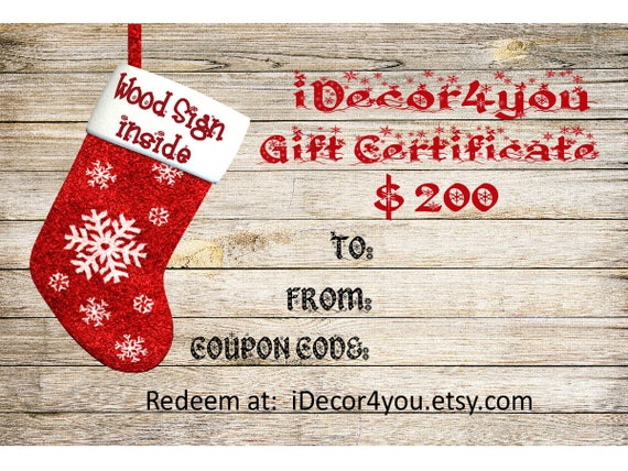 iDecor4you Christmas Family Gift Certificate for Custom Wood Sign. Gifts Card for Her, for Co-Workers from iDecor4you. Last minute gift