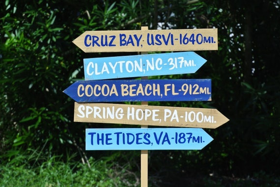 Family Directional Sign. .  Beach House Decor. Yard rustic wood decor. Wood yard decor