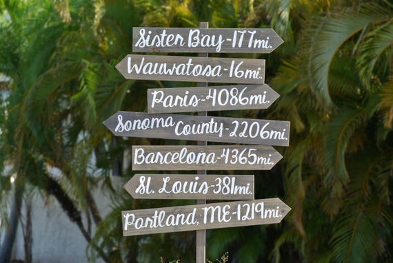 Family gift. Yard Directional Destination Sign. Wedding gift. Housewarming Gift Idea, Wood Arrow Rustic sign for house. Wood yard decor