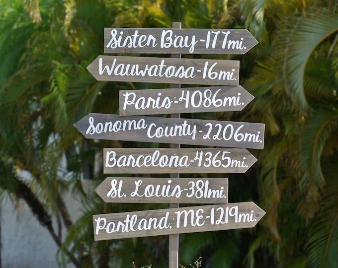 Yard Directional Destination Sign. Wedding gift. Wooden Garden sign post. Housewarming Gift Idea, Wood Arrow Rustic sign for house