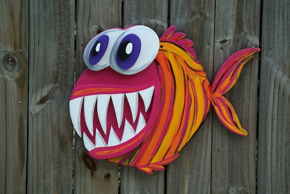 Gift for family, UNIQUE Gift Idea 3D Angler Fish Wood Sign, Large Outdoor Wall Art Decor, Funny housewarming gift, Pool Deck Decor