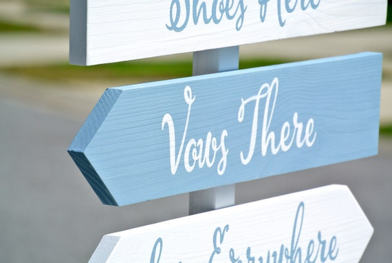 Wedding Direction sign. shoes here, vows there, love everywhere. Newlywed gift for couple.