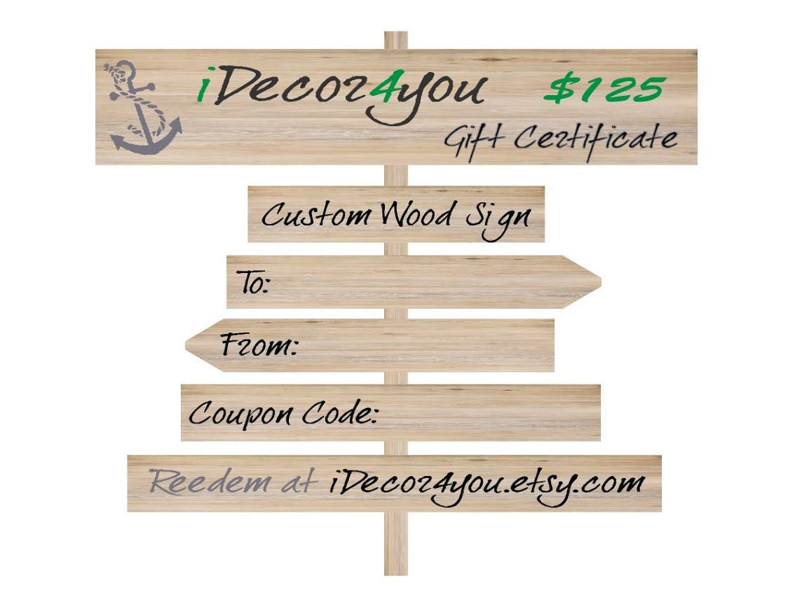 Custom Gift Certificate Purchase Gift Card Easy Holiday Cards