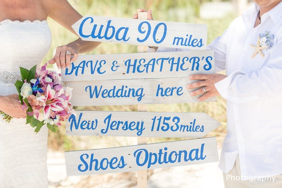 Gift for parents, Rustic Chic Wedding Directional Sign, Beach Wedding Decor, Shoes Optional Sign, Custom Wedding Sign gift idea