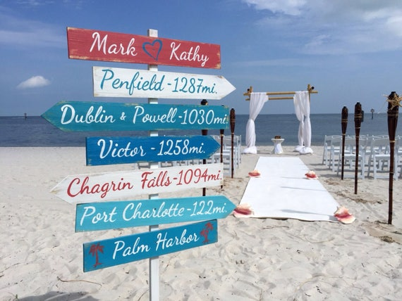 Beach Wedding decor Wood Sign. Nautical Wedding direction sign. Gift for couple