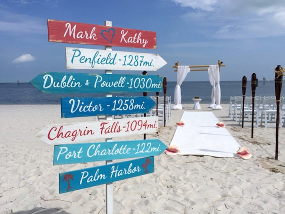 Beach wedding sign. Nautical wedding decor. Directional sign for ceremony. Gift for couple