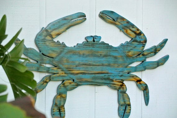 Wooden blue crab. Large beach wall art. Outdoor patio decor. Home bar sign