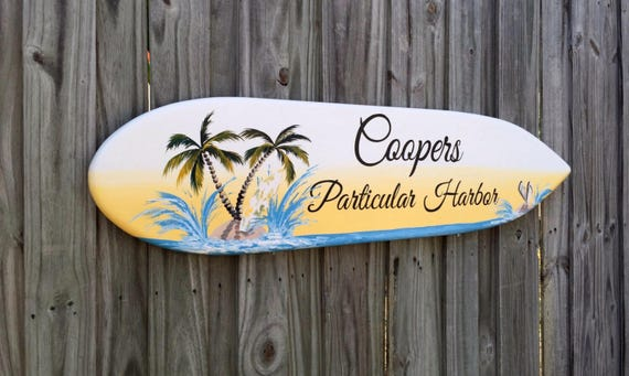 Surfboard Wood Guestbook Alternative Wedding Sign, Nautical Beach Wedding Decor, Palm Tree Beach Decor