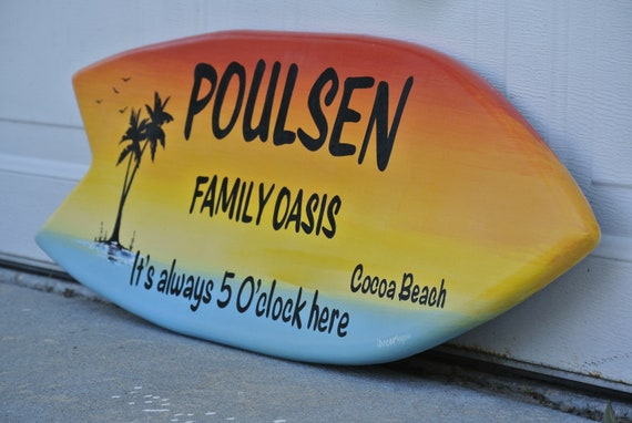 Wood Surfboard decor. Patio Surfboard wall art. Family oasis wood sign. Gift for mom, dad