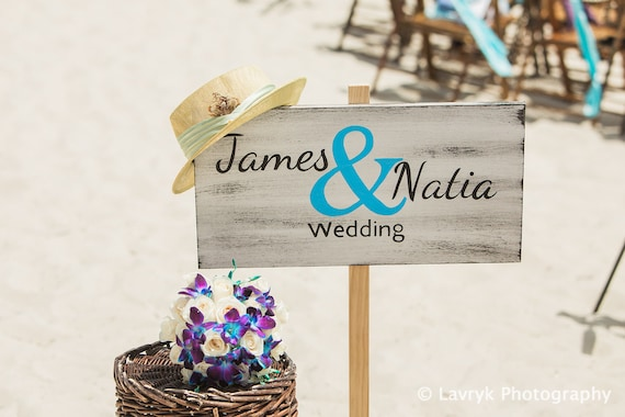 Newlywed Gift Beach Wedding Decor, Name Wedding Beach Sign, Rustic wooden wedding sign
