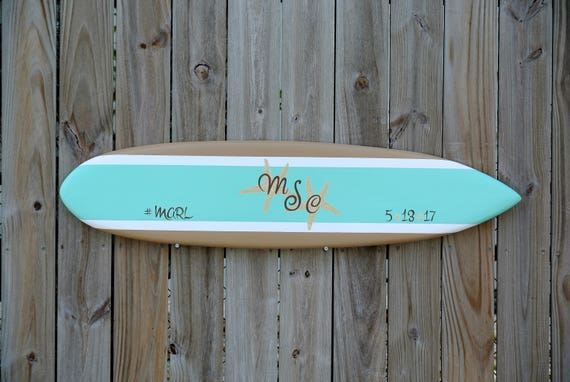 Surfboard Sea Star Mint Guestbook idea, Wood  Guest book Wedding Sign, Beach Wedding Mint Decor. Surboard Wood Sign