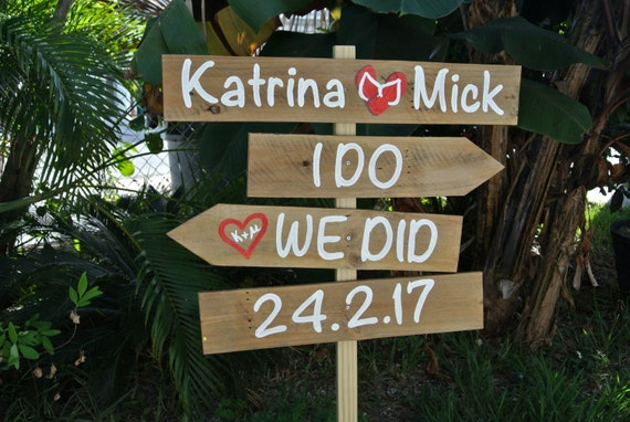 Newlywed Gift Gift for wedding. Rustic wedding beach sign. I Do We Did Vows arrows sign. Flip flops for wedding guests. Yard decoration sign