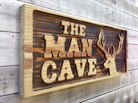 Man Cave Wall Decor, Carved Man Cave with Deer Head Wooden Sign, Pool Bar Decor. Family Housewarming gift.
