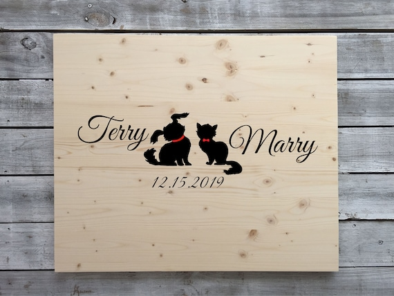 Guest book wood sign in board with Sharpie pen. Guestbook Alternative wooden sign. Gift for couple. dog and Cat lovers wedding decor