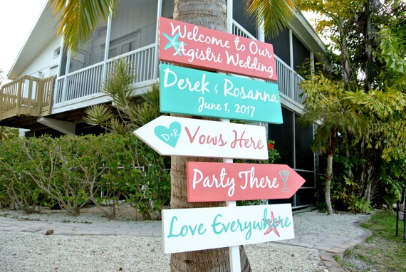 Wedding Direction Sign, Beach wedding decor. Vows here, Party There, Love Everywhere