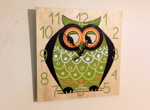 OWL wooden wall clock, Decorative Fun and Colorful OWL clock, Hand painted wall clock, Birthday gift idea, For kids bedroom Baby Nursery