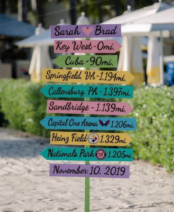 Wedding Directional Sign, Beach wedding decor, Gift for couple friends. Hashtag sign