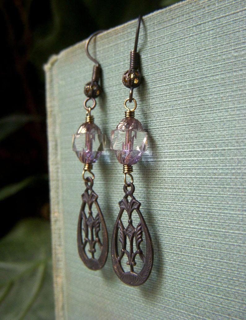 Vintage Style Victorian Earrings Lightweight Lavender Glass Dangle Teardrop Filigree Czech Glass Turbine Art Nouveau Earrings