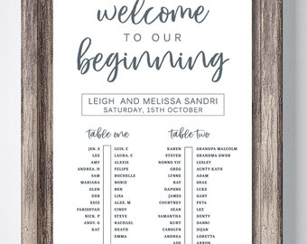 Welcome to our Wedding Seating Chart -Digital