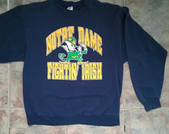 Vintage 90s Notre Dame Sweatshirt XL Fighting Irish Navy