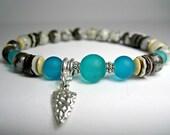 Mens Chakra Arrow Bracelet, Men 39 s Sea Glass Bracelet, Mens Earth Chakra Bracelet, Energy Bracelet, Mens Protection Bracelet, Gift For Him,