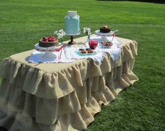 Burlap Tablecloth for 6 foot Rectangle 72 Inch Table 3 Ruffles Ruffled Burlap Rustic Decor Country Wedding Urban Farmhouse Barn Wedding