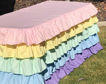 Pastel Rainbow Ruffled Tablecloth for 6 foot Table 5 Ruffle Tablecloth Unicorn Theme Kids Party Decor Baby Shower Dessert Table Multi Layers