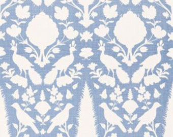 Custom Drapes Schumacher Chenonceau Sky Light Blue and White Custom Drapery Lined Interlined Drapes Pinch Pleat Euro Pleat Inverted Pleat