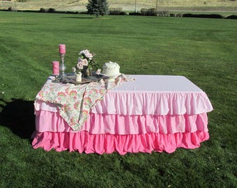 Ombre Ruffled Tablecloth-Pink Ombre 3 Ruffles Theme Birthday Party Baby Shower Shabby Cottage Style Tiered Tablecloth