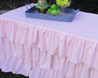 SALE!! Pink Ruffled Tablecloth- Baby Shower and Dessert Table Ideas; available in many colors