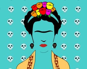 Frida and skulls sticker free shipping